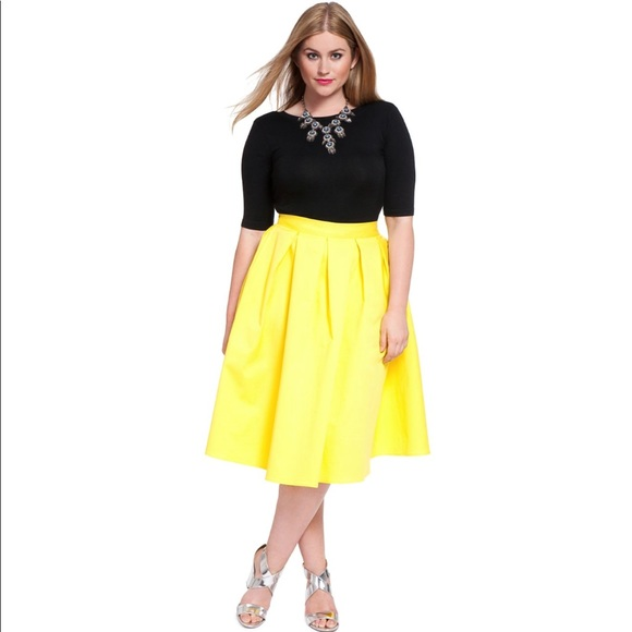 2d6c2ea32e2 Eloquii Studio Midi Skirt in Citron Yellow